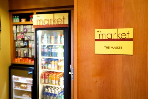 On Site Market open 24/7 for snacks & beverages