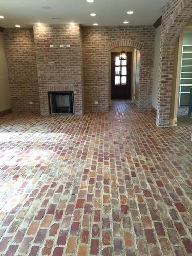Holiday Used Brick floors and fireplace