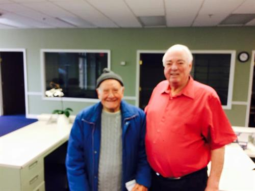 Don Dieso in the office today with Dad. Don has been a great client since 1956!!!