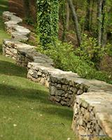 Free standing natural stone wall