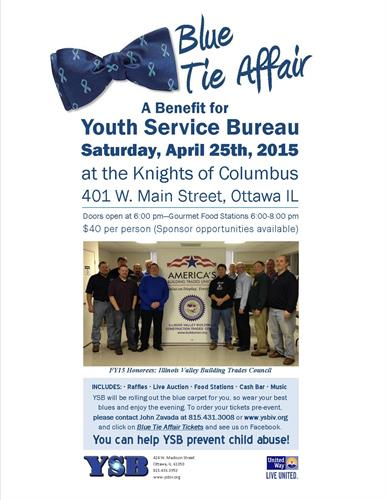 A blue tie affair apr 25 2015 illinois valley area for Youth bureau ottawa