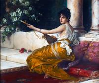 "Detail of ""Mandolinata"" by Conrad Kiesel."