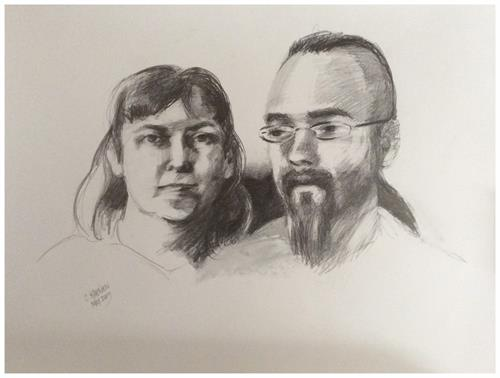 Graphite double portraits: one-of-a-kind 18x24; created during one 5 hour live session.