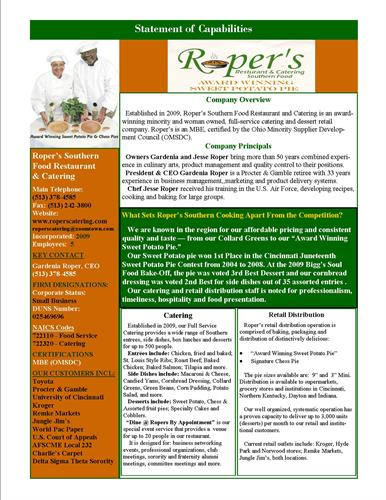 Capibilities Statement for Roper's Southern Food Restaurant & Catering