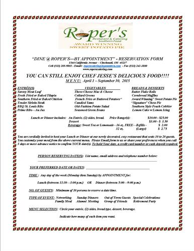 """Dine At the Roper's By Appointment"" Reservation Form"