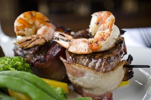 Bacon Wrapped Filet with Grilled Shrimp