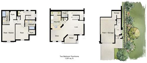 The three story, 2, 3 or 4 bedrooms all have the same living area - only the bedroom layouts are different
