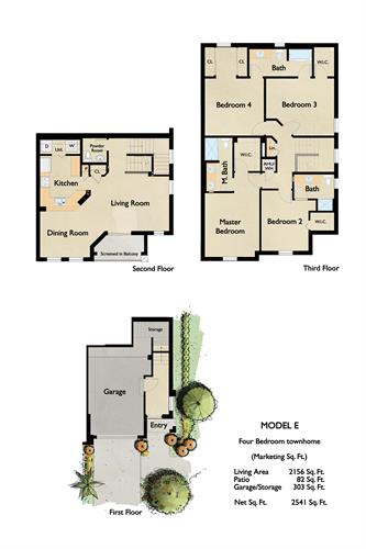 The four-bedroom townhome comes with 3 1/2 bathrooms and attached garage