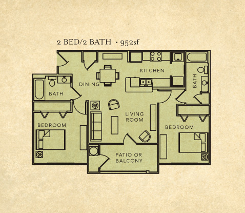 2 bed room 2 bath layout