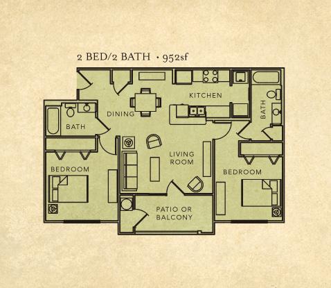 2 bed room 2 bath layout