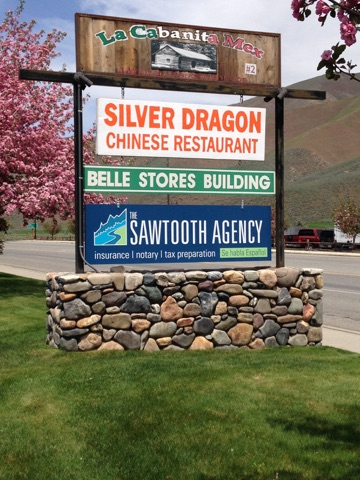 The Sawtooth Agency's signage viewable on Main St.