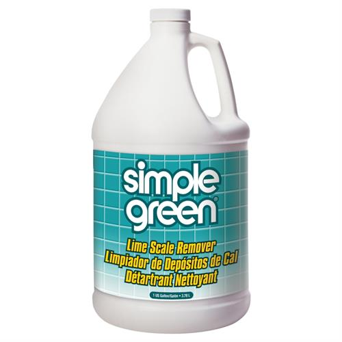 Simple Green Lime Scale Remover's non-abrasive, organic salt formula dissolves stubborn lime scale, soap scum, mineral deposits and hard water stains without bleach or ammonia. Won't strip protective finishes, discolor, etch or damage sensitive surfaces like other harsh descalers.