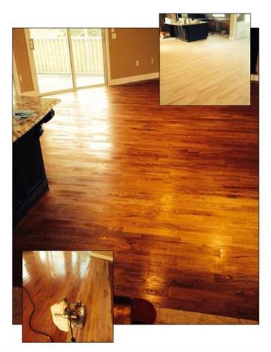 Wood Floor Repair - stripped & restained