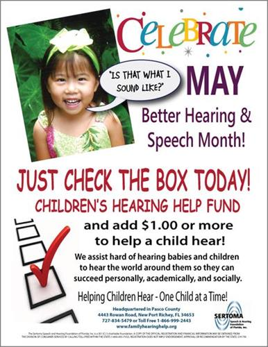 May is Better Hearing and Speech Month - Coco is our child on the poster