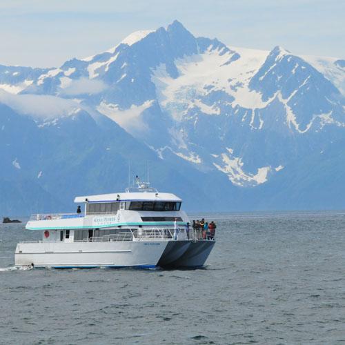 Kenai Fjords Tours Catamaran enroute to Fox Island