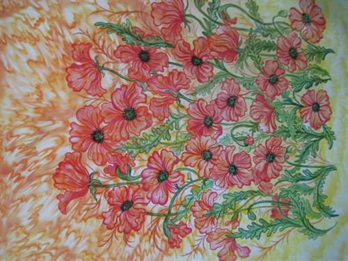 Poppies- crayon, marker, fabric paint on silk by Chelline