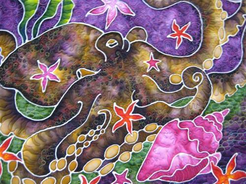 Octopus - fabric dyes on silk crepe by Chelline