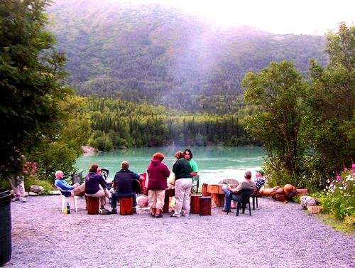 Campfire on the Kenai River at Drifters Lodge