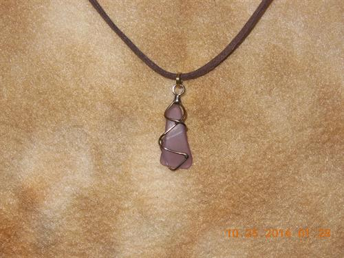 "Lavendar Sea Glass/ 14K Brown 20"" $28"
