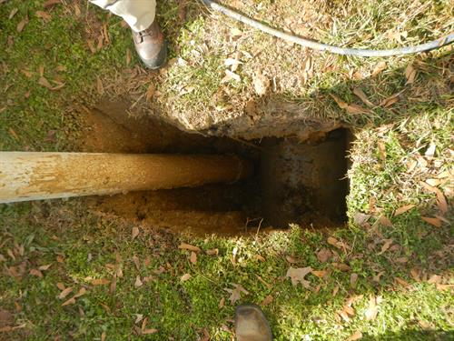 Example of uncovered underground pipe which has been exposed by our Air & Hydro Excavation truck.