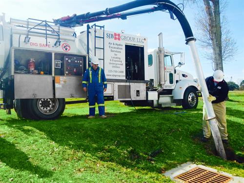 Subsurface Utility Engineering (SUE) with our Air & Hydro Excavator to safely expose underground utility lines.