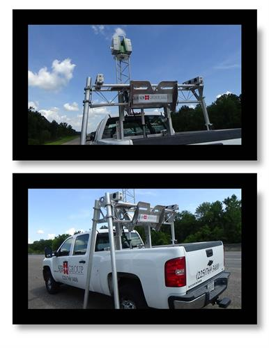 Our TopoLift technology.  A mounted 3D scanner is affixed to the lift in the bed of the truck.  Scanner self levels.  TopoLift reduces set up time on large projects.