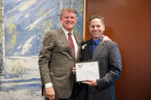 "Junior Achievement Awards 2014 - Director of Education, Todd Christensen, with Governor C.L. ""Butch"" Otter"