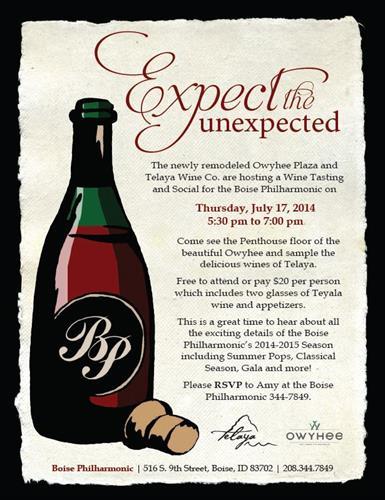 Owyhee/Telaya Wine Event!