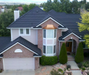 Decra Stone Coated Steel Color: Charcoal Black   -  Profile: Shake  -   Bay Window: 24 Gauge Copper Penny