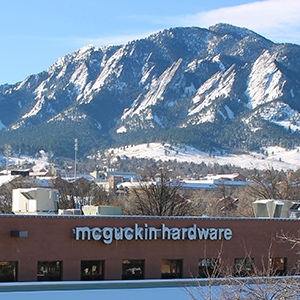 McGuckin Hardware is nestled beneath Boulder's iconic Flatirons.