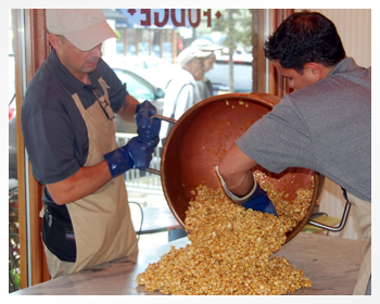 Our homeade carmel corn fresh out of the copper kettle