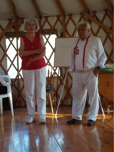 Barbara Mader with Hunbatz Men, Mayan Elder, visited HMHC July, 2014.