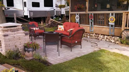 Small Paver Patio, Walkway, and Custom Gas Outdoor Fireplace Construction - Glenbeulah, WI