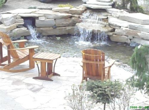 Relax by the pond as you shop!