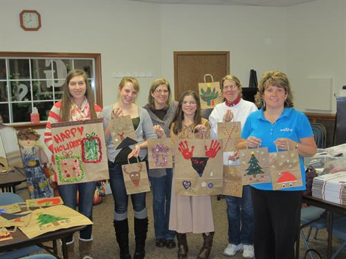 Bags are decorated for every holiday to send to the kids in our program