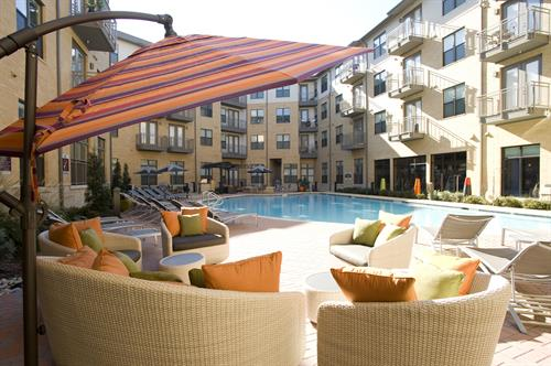 Relax in the pool at our community in Dallas.