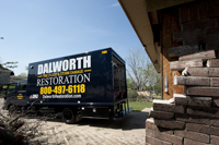 A Dalworth Truck at a Storm Damaged Home