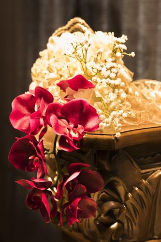 Beautiful flower arrangement on a pedestal