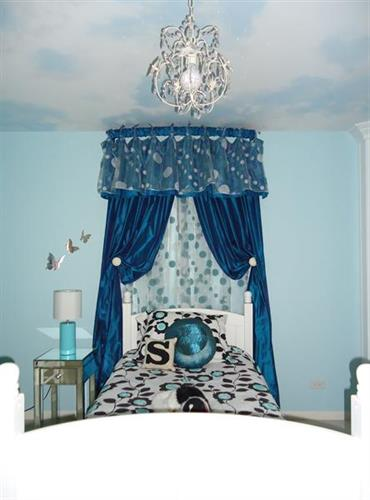 Girl's Bedroom with custom painted ceiling, custom fabrics, chandelier and more
