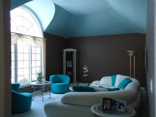 Contemporary Living Room with three color paint scheme.