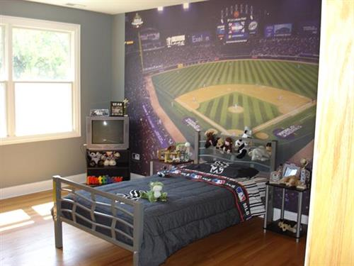 Boy's Bedroom with Sox Wallpaper Mural