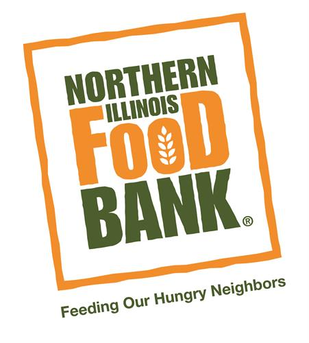 "Northern Illinois Food Bank logo with tag line, ""Feeding Our Hungry Neighbors"""
