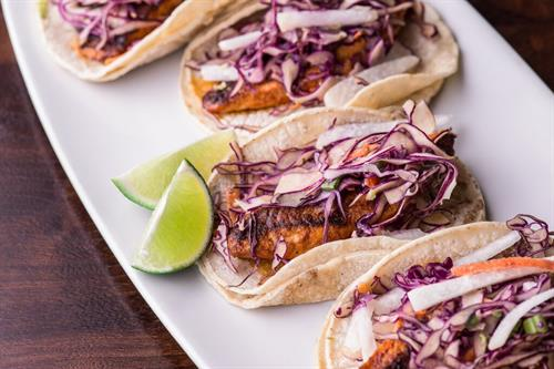 Fish tacos- blackened Tilapia with avocado, red cabbage slaw, jicama, & salsa.