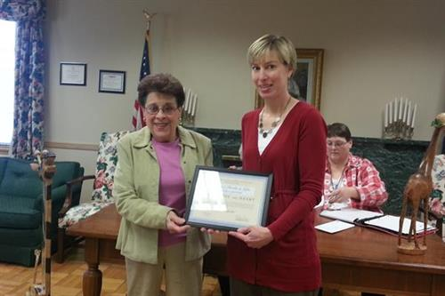 "The Seward Women's Club presented Chapters the ""Business with a Heart"" Award"