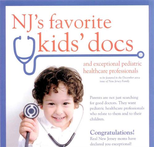 Dr. Brayton was voted by the New Jersey Family advisory board of local moms and readers as one of their Favorite Kids' Docs of 2012!