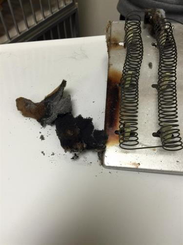 We caught a dryer fire and prevented disaster!