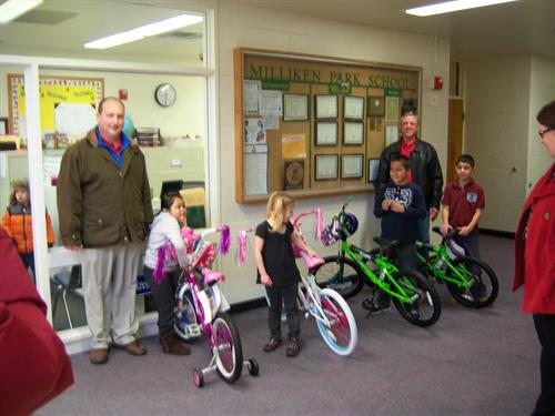 Waste connection donating bikes at Christmas