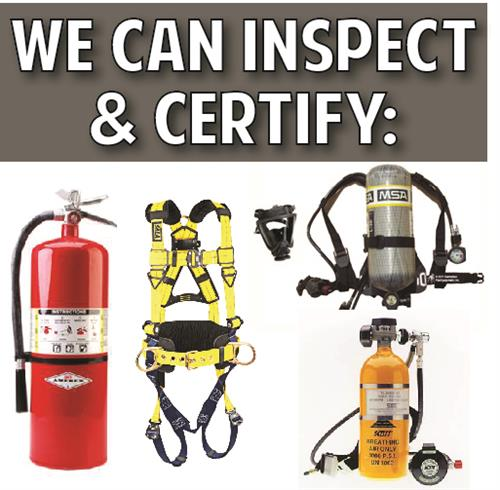 Our trained and certified staff can assure your safety items are up to code and pass their inspections. Fire extinguishers, fall arrest harness, lanyards and shock absorbers.  Breathing air packs and more!