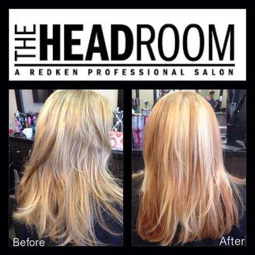 Before and after. A beautiful apricot blonde. From drab to fab with a Redken customized color by The Headroom