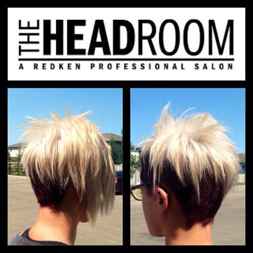 Edgy, bright blonde, with a violet undercut customized at The Headroom